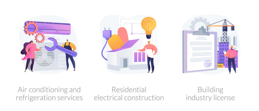 Builder contractor services abstract concept vector illustration set. Air conditioning and refrigeration services, residential electrical construction, building industry license abstract metaphor.