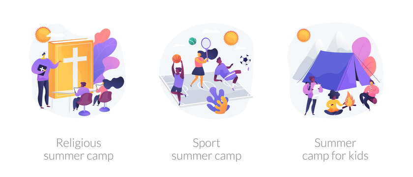 Recreational and educational activities for children metaphors. Religious camp, sport classes, summer camping. Hiking adventure for kids. Vector isolated concept metaphor illustrations.
