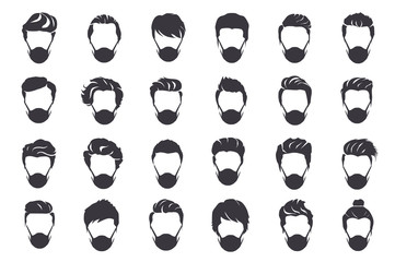 Men wearing protection face mask against coronavirus. Set of hairstyles for men. Collection of black silhouettes of hairstyles and mask. Vector illustration  Fotobehang