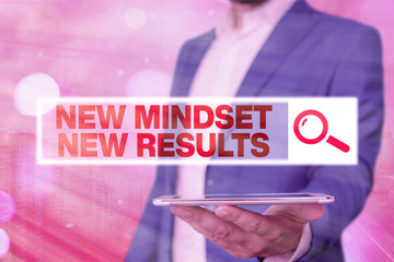 Text sign showing New Mindset New Results. Business photo showcasing obstacles are opportunities to reach achievement