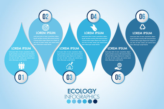 Infographic eco water blue design elements process 6 steps or options parts with drop of water. Ecology organic nature vector business template for presentation.