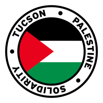 Round Tucson Palestine Solidarity Flag Clipart