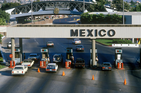USA/Mexico border in San Diego, CA facing Tijuana