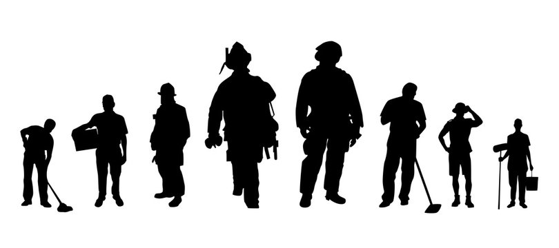 Worker profession silhouette collections