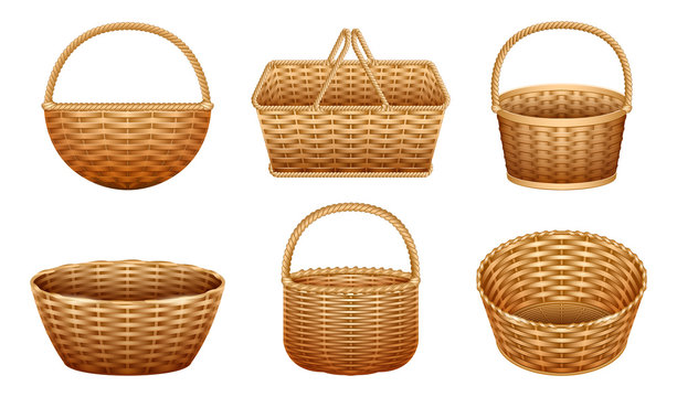 Wicker basket vector realistic set icon. Vector illustration basketry on white background. Isolated realistic set icon wicker basket .