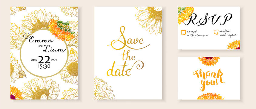 Vector wedding invitation set with Save the Date, RSVP and Thank You cards, suitable for hot foil stamping, with letteting and elegant watercolor flower drawings