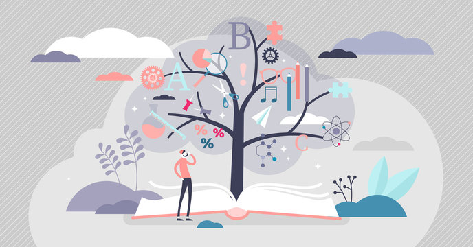 Education tree vector illustration. Knowledge plant flat tiny persons concept