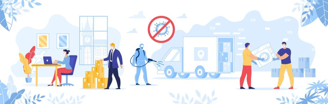 Delivery Service and Warehouse Work during Covid19 Coronavirus Spread. Secure Shipping Online Home Appliance and Electronic Purchase on Quarantine. Parcel Disinfection Sanitation in Epidemic Condition