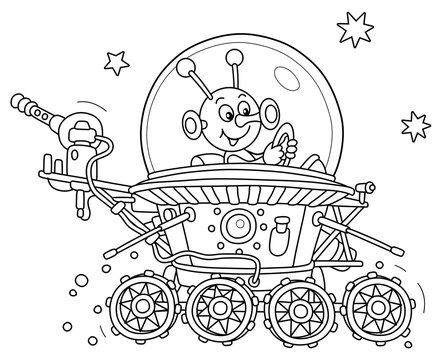 Funny small alien friendly smiling and piloting a lunar rover somewhere beyond the planet Earth, black and white outline vector cartoon illustration for a coloring book page