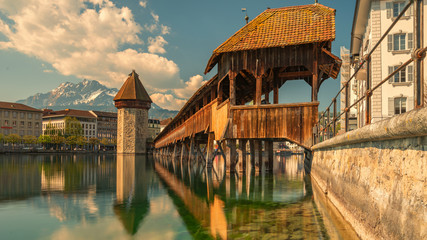 Famous Chapel bridge in Lucerne in a beautiful summer day, Switzerland - Travel concept. Fotomurales