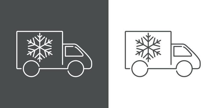 Símbolo de transporte refrigerado. Icono plano lineal camión con estrella de frío en fondo gris y fondo blanco
