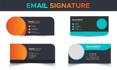 Corporate simple professional creative modern unique stylish email signature collection in gradient colors with layout Fototapete