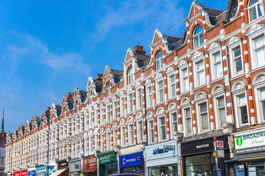 Row of shops on Muswell hill broadway high street, London