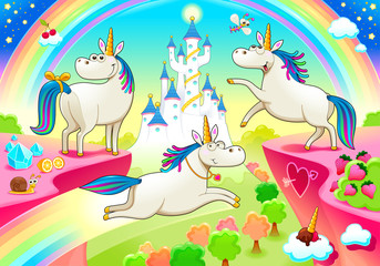 Poster Kinderkamer Group of funny unicorns with castle and fantasy landscape. Vector cartoon illustration
