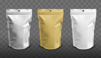 Foil pouch with zipper, doypack for food. Blank stand up plastic bags. Vector realistic mockup of white, silver and gold colored flex package with zip lock isolated on transparent background