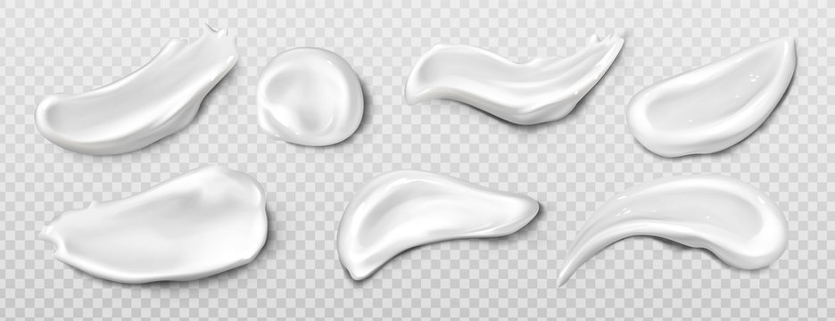 Cosmetic cream smear, toothpaste smudge realistic vector set illustration. White product sample, makeup concealer or clay, cosmetic face mask or serum texture swatch isolated on transparent background