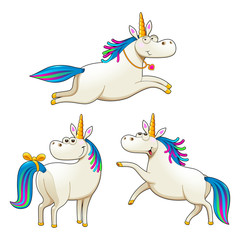 Group of funny unicorns