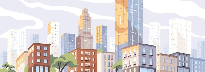 Fototapete - Modern city center with scyscrappers and residential houses. Colorful panoramic downtown view. Megalopolis cityscape. Metropolis skyline. Urban scenery. Vector illustration in flat style