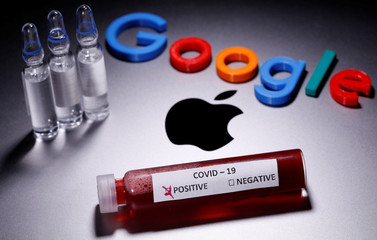 A test tube with fake blood and COVID-19 label and a 3D printed Google logo