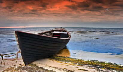 Printed roller blinds Ship Coastal landscape with old fishing boat at dawn, Baltic Sea,