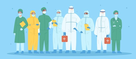 Group of medical workers in personal protective equipment. Physicians, nurses, paramedics, surgeons in workwear. Hospital team standing together wearing uniform or protection suit. Vector illustration Wall mural