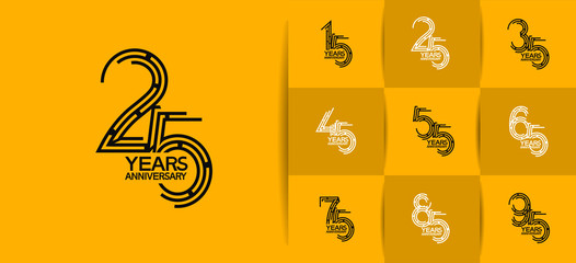 Anniversary logotype set with yellow color for invitation, background, template, greeting and celebration event