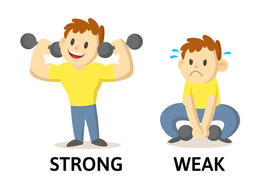 Words strong and weak textcard with cartoon characters. Opposite adjectives explanation card. Flat vector illustration, isolated on white background.
