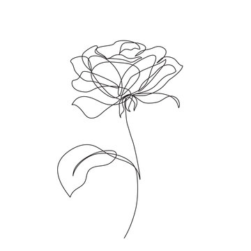 Rose flower icon. Continuous one line drawing.