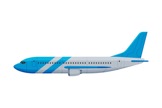 Modern Passenger Airplane, Flying Aircraft Vehicle, Side View Flat Vector Illustration