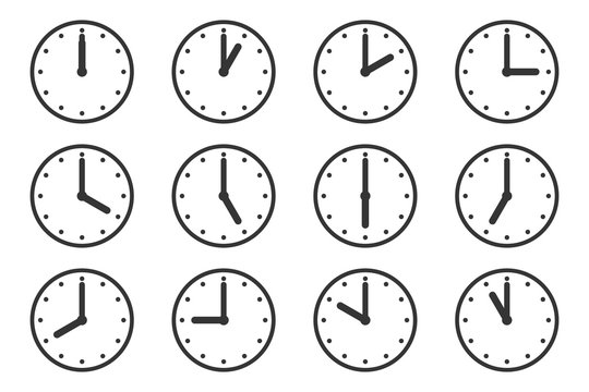 Watches with different times. Clock vector icons