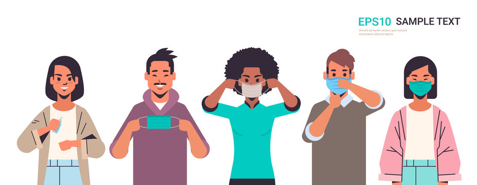 how to wear medical face mask covid-19 protection mix race people presenting step by step correct method of wearing mask to reduce coronavirus spreading horizontal portrait vector illustration