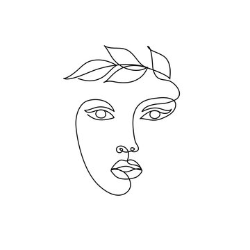 Abstract minimal line drawing beauty woman face with leaves