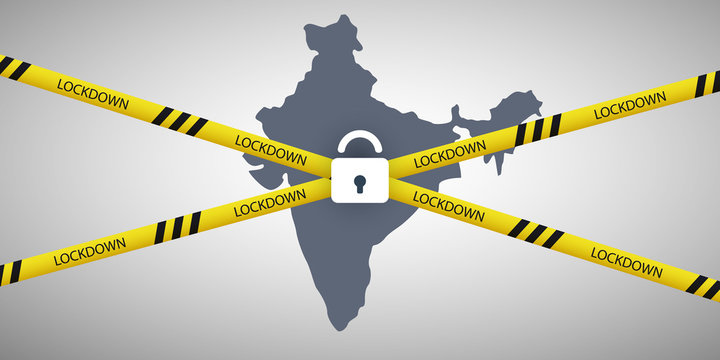 Lockdown in India - Vector Design Concept with Map of India, Cordon Line and Padlock -  Movement Control Order, Emergency State Restrictions to Fight Against the Spreading of the Coronavirus