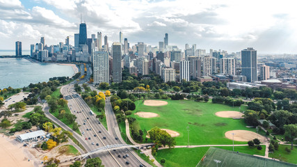 Fototapete - Chicago skyline aerial drone view from above, lake Michigan and city of Chicago downtown skyscrapers cityscape bird's view from park, Illinois, USA