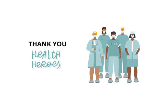 Thank you healthcare heroes character illustration