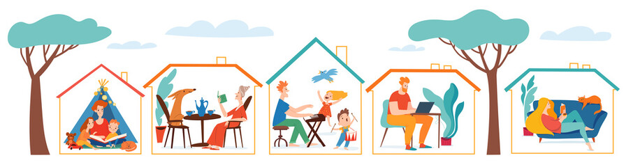 Stay at home vector quarantine illustration with set of houses with people spend time together Fotomurales