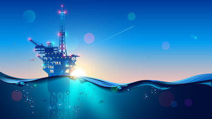Offshore Oil or Gas Rig in sea at sunset time. industry drill platform in ocean. Water with underwater bubbles with sunrise on horizon. subsea marine landscape. Mining petroleum. Fototapete