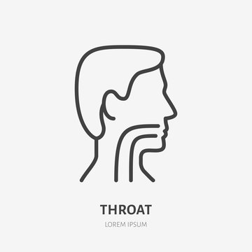 Sore throat line icon, vector pictogram of flu or cold symptom. Man head in profile with angina illustration, sign for medical poster