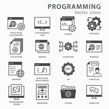 Programming icons set. Vector illustration isolated on white.