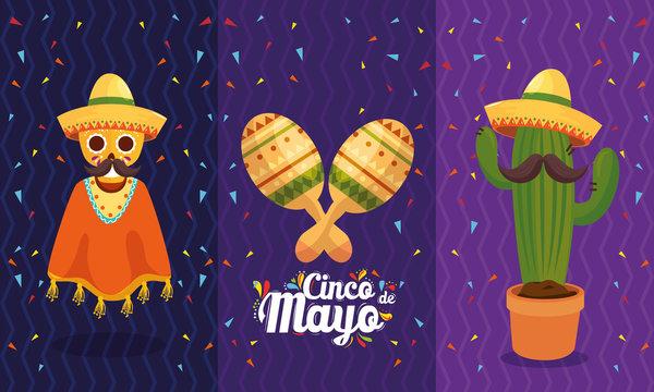Mexican skull maracas and cactus design, Cinco de mayo mexico culture tourism landmark latin and party theme Vector illustration