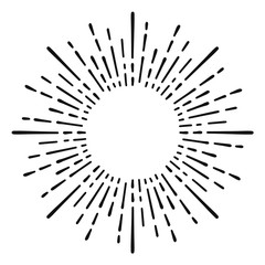 Sunburst doodle line art. Hand drawn sun burst, round banner with circle explosion. Retro sketch radial rays, black frame isolated on white background. Handmade design element