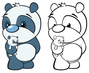 Vector Illustration of a Cute Cartoon Character Panda for you Design and Computer Game. Coloring Book Outline