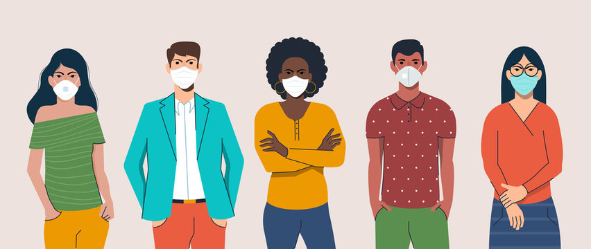 Flat design people with mask