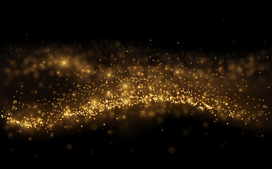 Gold light shine particles on black background