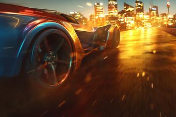 Auto fährt Nachts durch die Stadt Fototapete