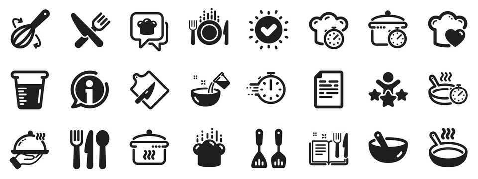 Boiling time, Frying pan and Kitchen utensils. Cooking icons. Fork, spoon and knife icons. Recipe book, chef hat and cutting board. Cooking book, frying time, hot pan. Approved check, document. Vector