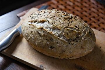 Fototapeta Homemade black cumin bread. obraz