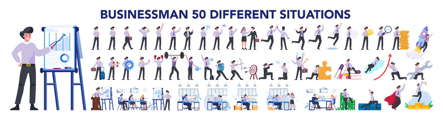 Businessman character set. Poses and meeting, data and hero. Fotomurales