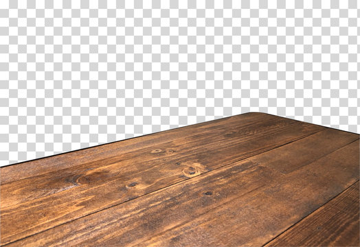 Perspective view of wood or wooden table top corner on isolated transparent background including clipping path, template mock up for display products.