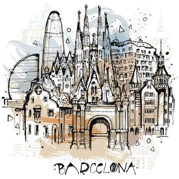 Handgezeichnete Barcelona Illustration in Vektoren